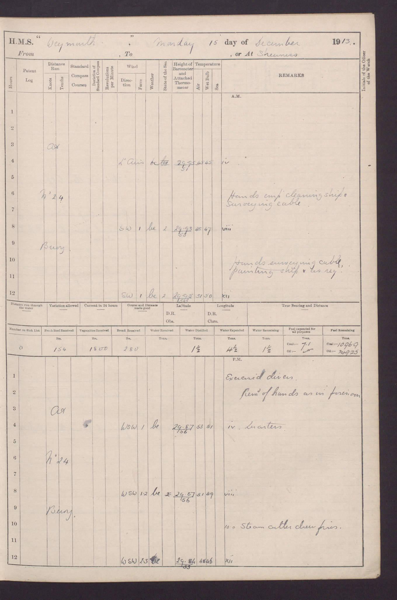 Hms Weymouth Light Cruiser British Warships Of World War 1 Chattanooga M2 Wiring Diagram 4caf8cbfcadfd34197037bf0 Http Oldweathers3amazonawscom Adm 53 68440 039